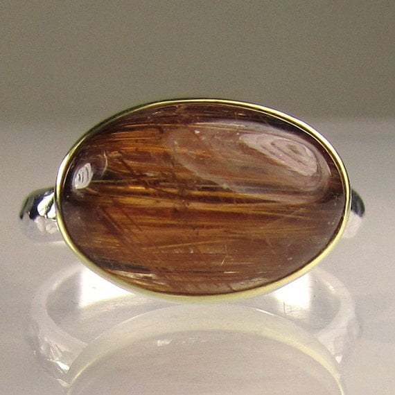 SALE - Rutilated Quartz Cocktail Ring - 18k Gold and Sterling Silver - 10% OFF