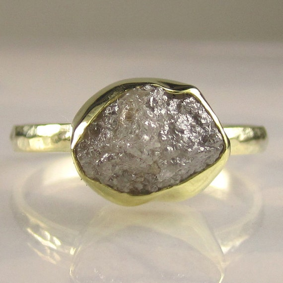 Rough Diamond Engagement Ring - 18k and 14k Gold