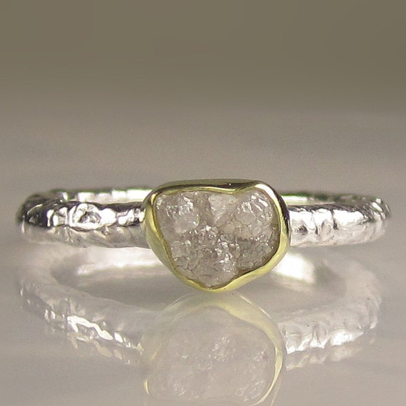 Rough Diamond Engagement Ring - 18k Gold and Sterling Silver