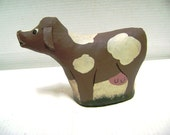 Canvas Cow, Handpainted, Toys from the Attic, 1989, Folk Art, How Now Brown Cow, Moo to You