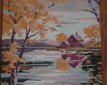 Vintage Paint by Number Barn Scene Oil Painting, Art, Oak Frame, Barn, Pond, Trees, Mountain, PBN, Art for All, Fall Landscape Scenery