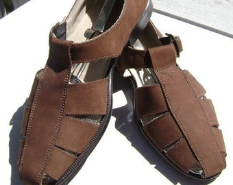 Vintage Sandals, Handmade Shoes, Classic Comfort, Church's Brand, Womens Huaraches, Brown Suede Leather, Size 9, Made in Italy, Reduced