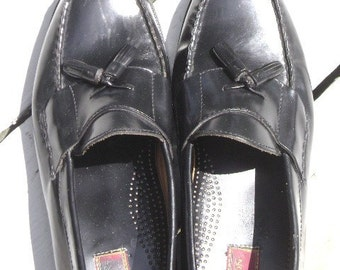 Vintage Loafer Slip On Shoes with Tassels, Black, USA Size 13 men, Thomson Tru, Business Geek, REDUCED