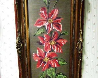 Vintage  Framed Floral Needlepoint Gold Baroque Shabby Chic, Large, Handmade, Custom Framed, Cottage Style, Pink Lilies, Home Decor