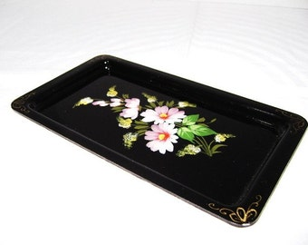 Vintage Tray, Hand Painted, Tole, Tiny Treasures, Beautiful Not So Shabby Chic, No Rust, Floral, Country Cottage, Sale