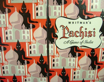 Vintage Whitman's Pachisi Game of India, Parcheesi, Bold Graphics, Game Collector, Collage Supply Paper Crafter, Altered Art, 1945 Royalty