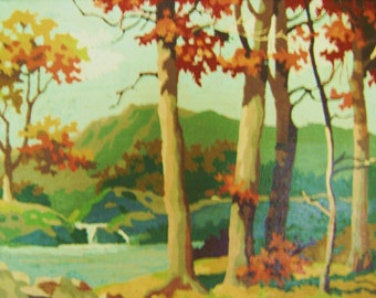 Vintage Paint by Number, Vintage Painting, Beautiful Autumn Scene, WaterFall, Mountains, Trees, Framed in Oak, oil painting