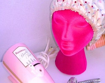 Vintage Pink Hairdryer, Portable Bonnet, Stage Prop, Ronson Beauty Trio, Works, 3 Speeds, Saturday Night Home Salon, Retro Hair Care Beauty