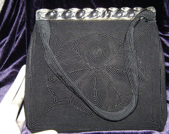 Vintage Corde Evening Bag, Art Deco Lucite Top Edge, Beautiful Classy, Price Mark Down from 125 dollars