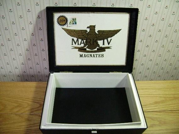 Vintage Cigar Box For Dad Rigid Plastic Large Gold Eagle Crest, Man Pocket, Jewelry Trinket Storage Box, Repurpose Craft Supply, Shadow Box