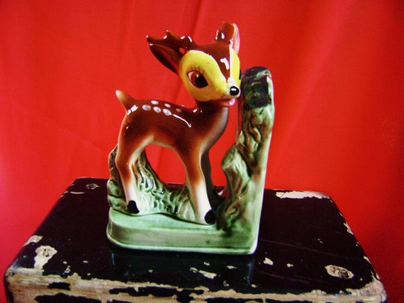 RESERVED For HECTOR, Vintage Bambi Bookend, Oh Deer, Nursery Decor Item, Spotted Fawn, Baby Buck, Reduced 5 dollars