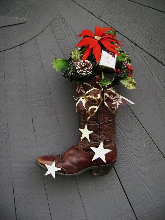 Cowboy Christmas Front Door Decor Boot Ranch Rusty