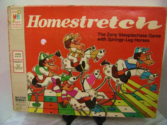 Homestretch, 1974 Milton Bradley board game, Steeplechase, Kentucky Derby Party Prop, Horses, Jockey, Funny Graphics and Game Pieces