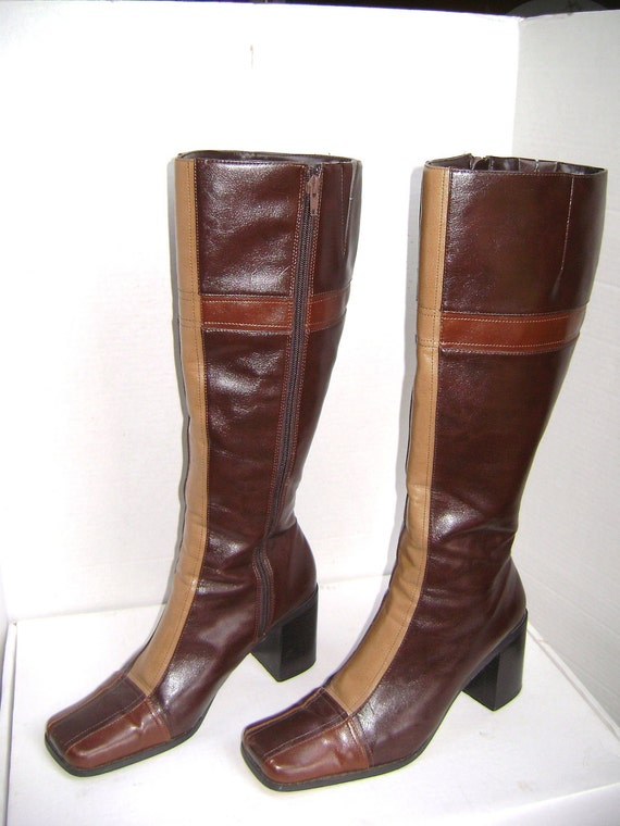 RESERVED For BETH, Vintage Boots, Tri Color Brown Pleather, Knee High, Side Zippers, Square Toes, 9.5 Medium, Transit Brand