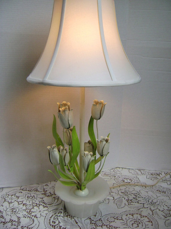 RESERVED For Jasmine, Vintage Lamp, Italian Tole Ware Tulips, Alabaster Base, Green, Shabby Chic French Country Cottage Garden Room REDUCED