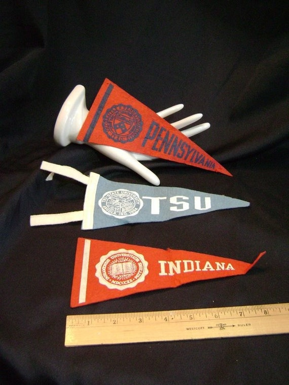 RESERVED for BMORE 3 Vintage pennants, Pennsylvania University, Tri State University of Angola, Indiana University, felt, College, Upcycle