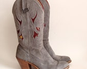 size 7 Vtg Gray Suede Heeled Cowboy Boots. 80s Laredo. stacked leather heel. embroidery. leather soles. fall.