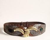 Vtg Peacock Feather Waist Belt. 1980s. gold buckle. wide.