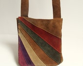 1960s suede purse / colorful rainbow suede / hippie purse / made in Spain