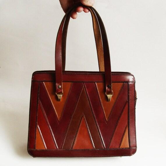 70s Leather Purse Chevron Handbag 1970s Orange Red