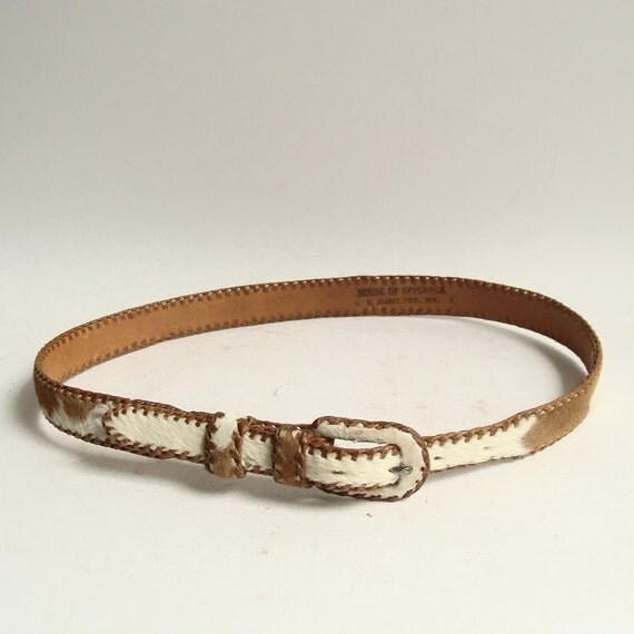 cowhide belt / thin leather belt / 70s 1970s cowhide belt / waist belt / vintage belt / House of Oppenheim