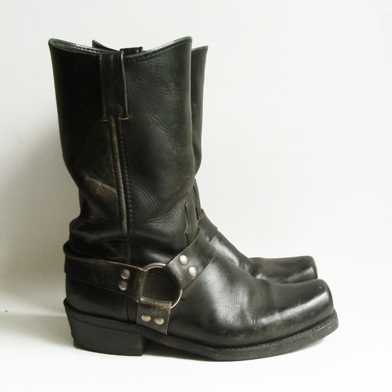 boots 11 black leather biker boots by oldbaltimorevintage