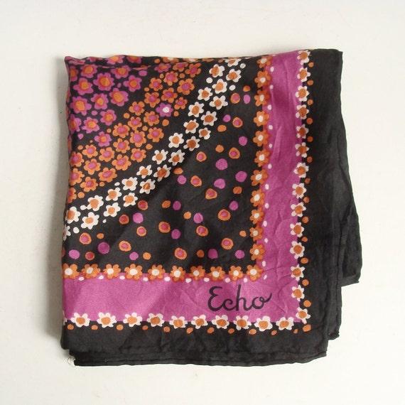silk scarf / Echo scarf / pink orange black floral scarf / hand rolled scarf / silk floral scarf / vintage scarf