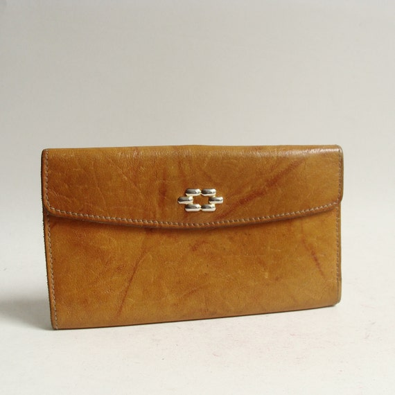 leather wallet / 70s 1970s leather wallet / full grain leather wallet / vintage billfold wallet