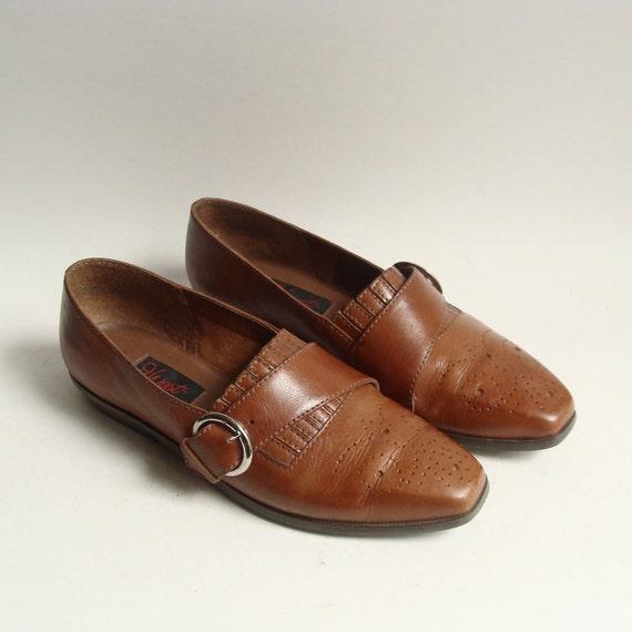 shoes 7 / brown leather monk strap oxfords / Nine West 80s 1980s flats / chestnut brown leather / shoes size 7 / vintage shoes