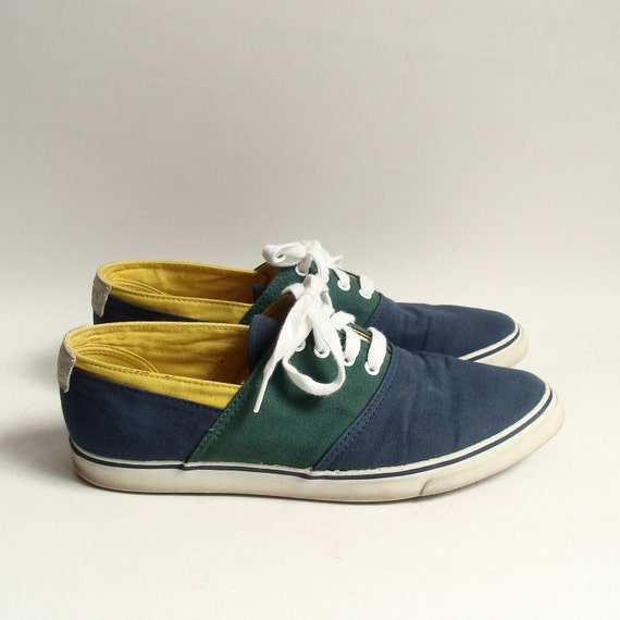 shoes 7.5 / canvas boat shoes / 90s 1990s Bass flats / lace up colorblock sneakers / shoes size 7.5 / vintage shoes