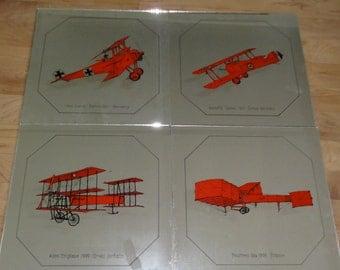 Vintage Mirror Tiles. 1970's  Airplanes.Mirro-Scenes. Mural-Forming Tiles. Original Box.