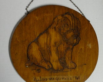 1910 Puppy Dog Phyrographic Art. Wedding gift. Wooden Wall Hanging.