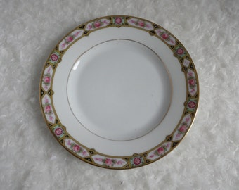 M Z Altrohlau. Czechoslovakia. Gold band. Pink Roses. Black triangles Bread Plate. Set of two