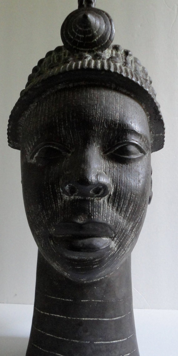 African Art. Head of a King. Ife King. Bronze Head with Crown.