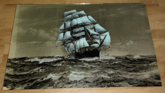 Vintage Mirror Tiles 12x12 Ship Mural Cutty Sark By