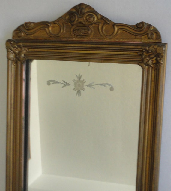 Antique Wall Mirror Wood Etched by Cosasraras on