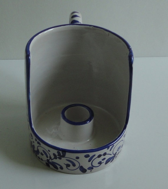 Cobalt Blue Flowers Ceramic Candle holder. Made in Italy