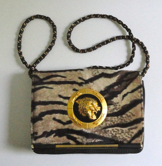 Fabulous Leopard/Jaguar Print Bag.Chain Strap with Tiger Medalion