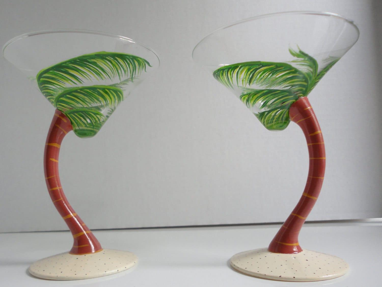 Palmtini Palm Tree Martini Glasses Hand Painted By