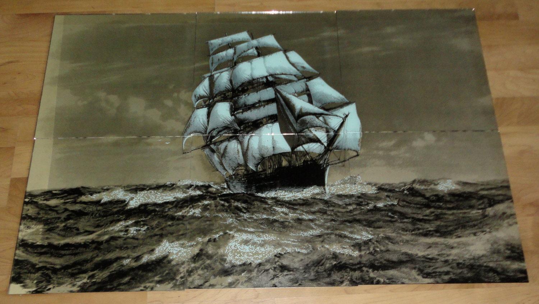 Vintage Mirror Tiles 12x12 Ship Mural Cutty Sark
