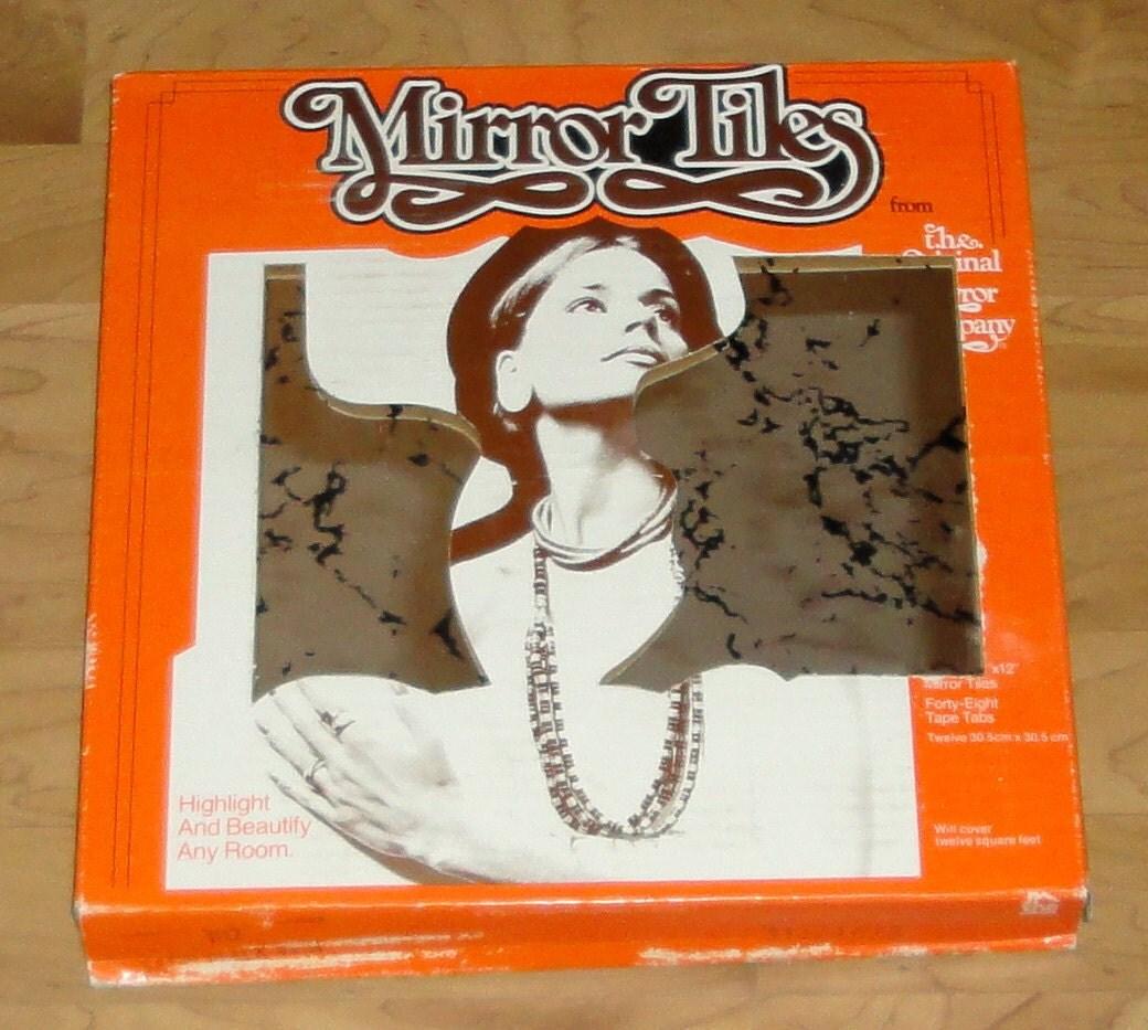 Vintage Mirror Tiles Black Veins Box Of 12 Tiles