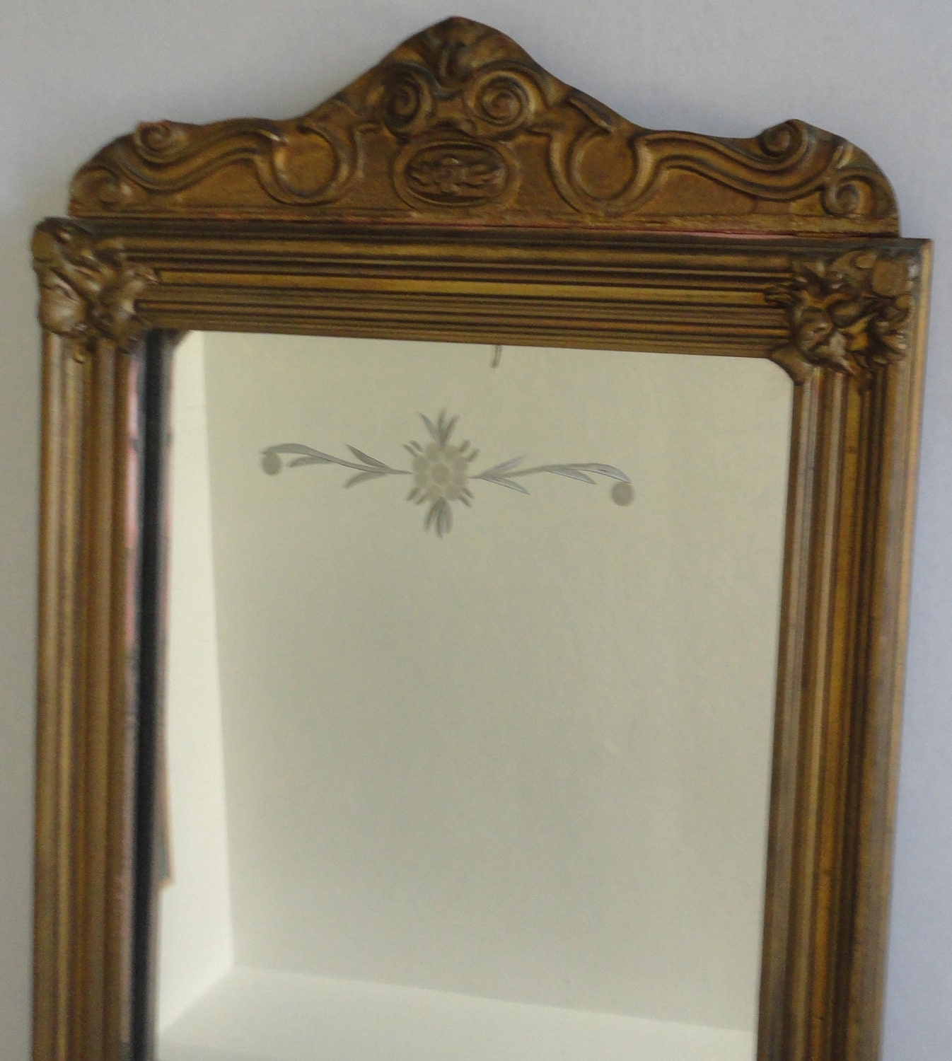 Antique Wall Mirror Wood Etched Large