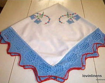 Vintage Tablecloth w/Blue Floral Embroidery and Lace Edging