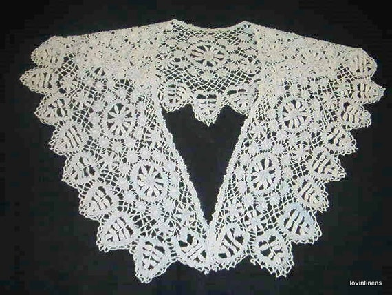 Bobbin Lace Bertha Collar Handmade Bobbin Lace Antique