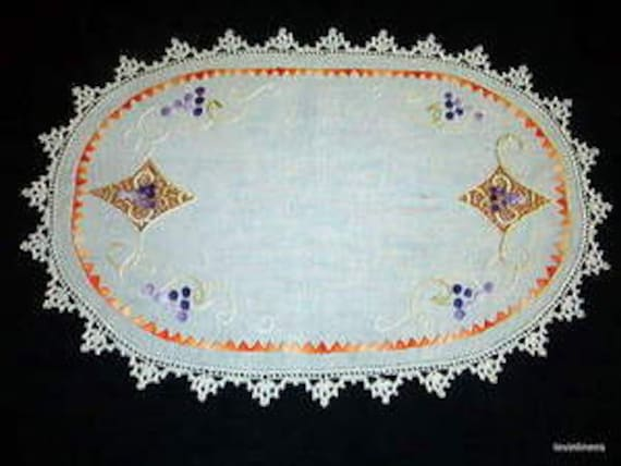 1930's Hand Embroidered Grapes Table Runner