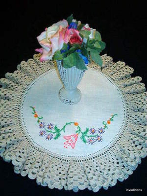 Pink Floral Embroidered Doily w Wide Crocheted Lace