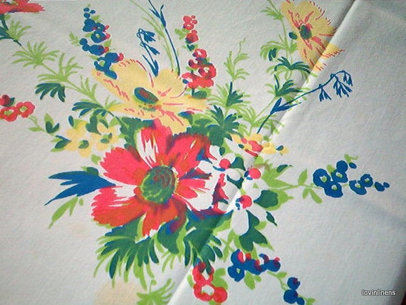 Red Poppies Vintage Wilendur Tablecloth 61X74