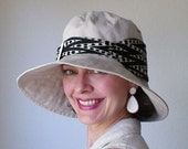 the Charlotte Hat - eco friendly - Beige Twill with Recycled Silk Tie Trim, CHAR006