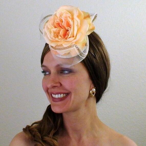 SALE - Peach Ice Cream - Eco Friendly Cocktail Bridal Hat - BSP093
