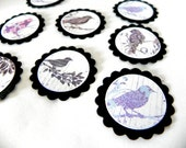 Black and purple whimsy Birds tags label